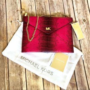 Ultra Pink Medium Snakeskin Envelope Clutch